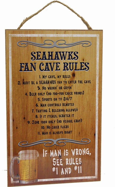 Seahawks Fan Cave Rules SIGN