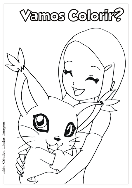 Kari e Tailmon Digimon desenho para colorir