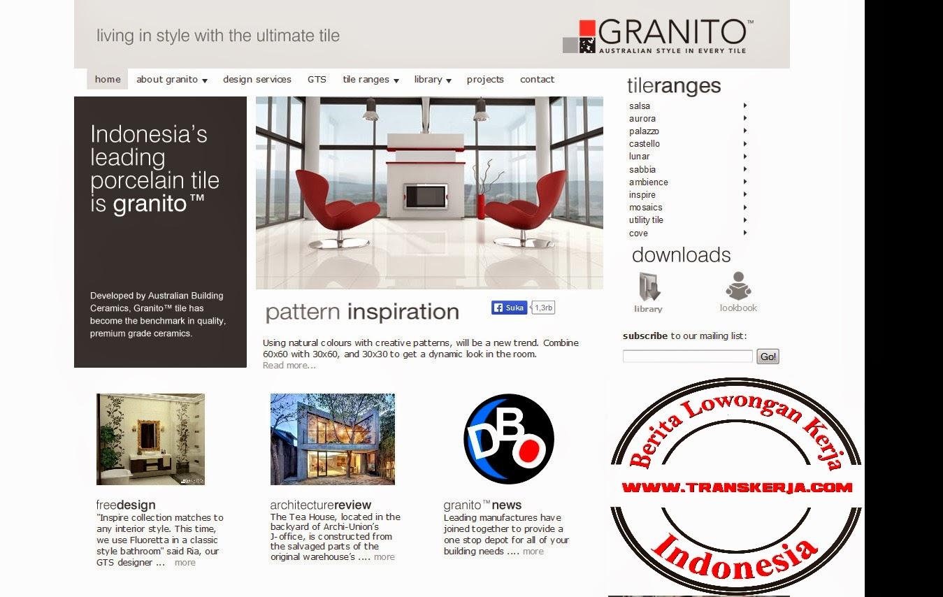 P.T. Granitoguna Building Ceramics, ALIA Building, 3rd Floor Jl. M.I. Ridwan Rais 10-18 (Gambir) Jakarta 10110 INDONESIA  Phone: (62 21) 386 7707  Fax: (62 21) 386 7708