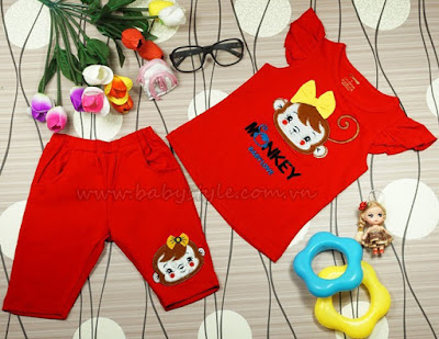 Bộ Monkey Baby Love màu Đỏ