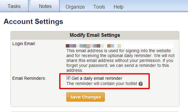 Modify Email Settings page in Toodledo