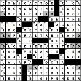 crossword number three farce majeure glutton for pun