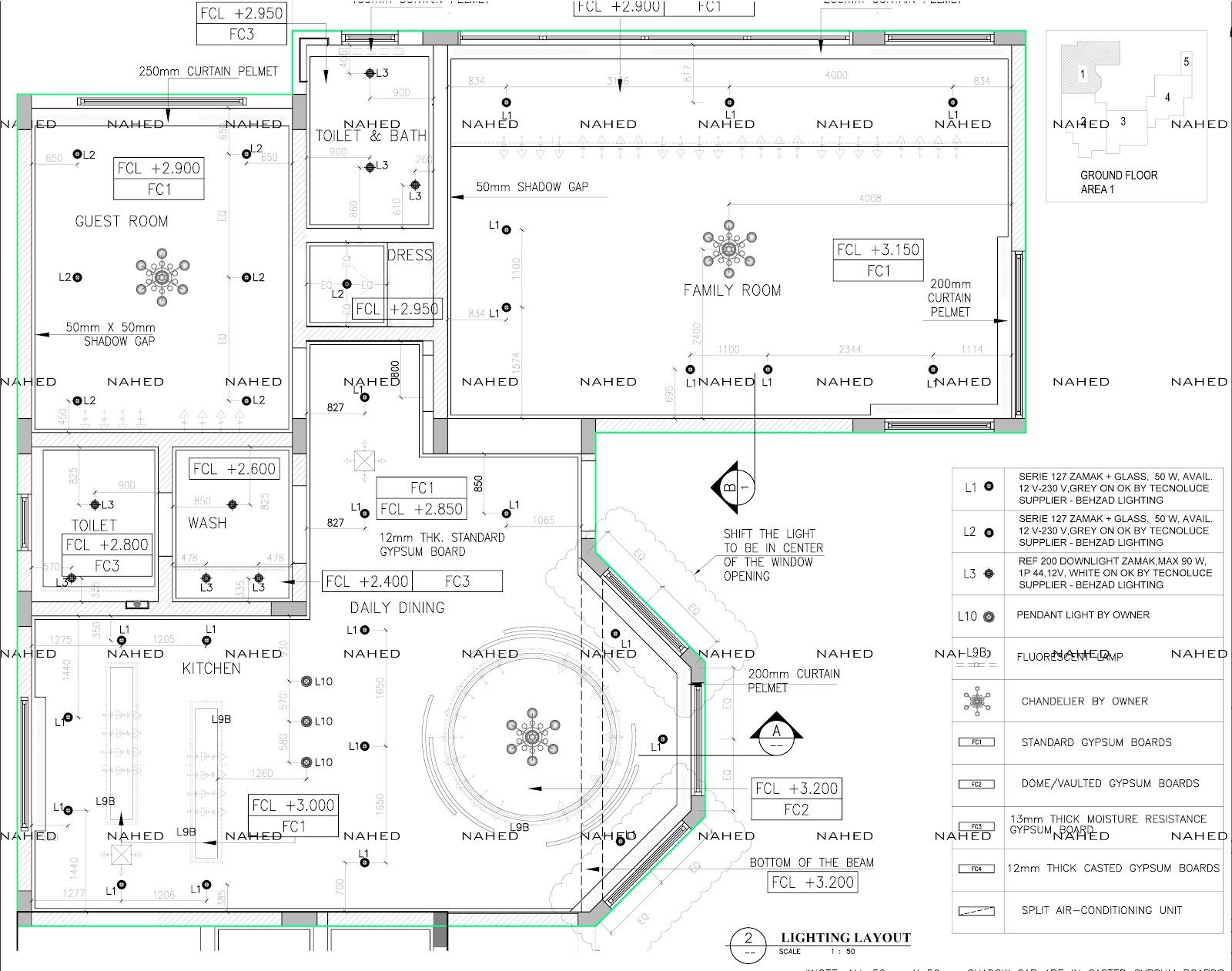 Private Villa Ceiling Setout Layout Detail Working