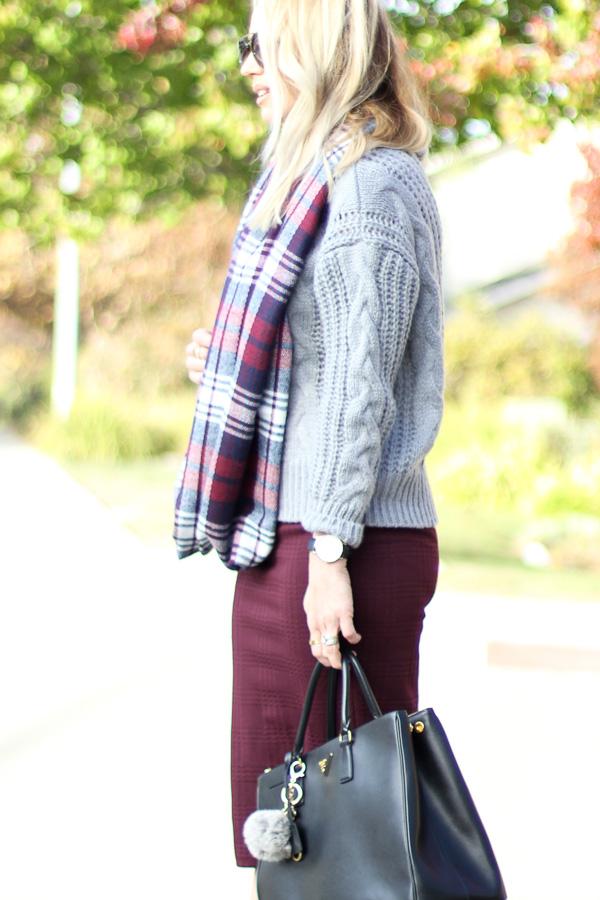 grey chunky knit sweater