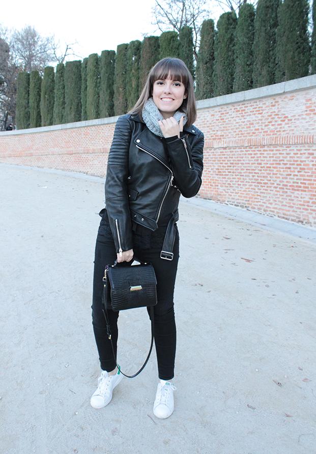 Black biker + White Sneakers