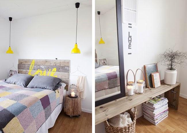 Nella camera da letto spicca laccento giallo sulla testiera (homemade ...