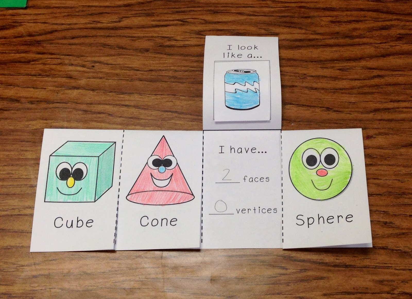 We wrote about 3D shapes in a mini book.