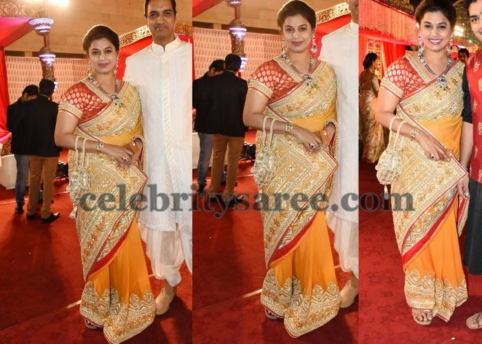 Pinky Reddy Yellow Work Saree