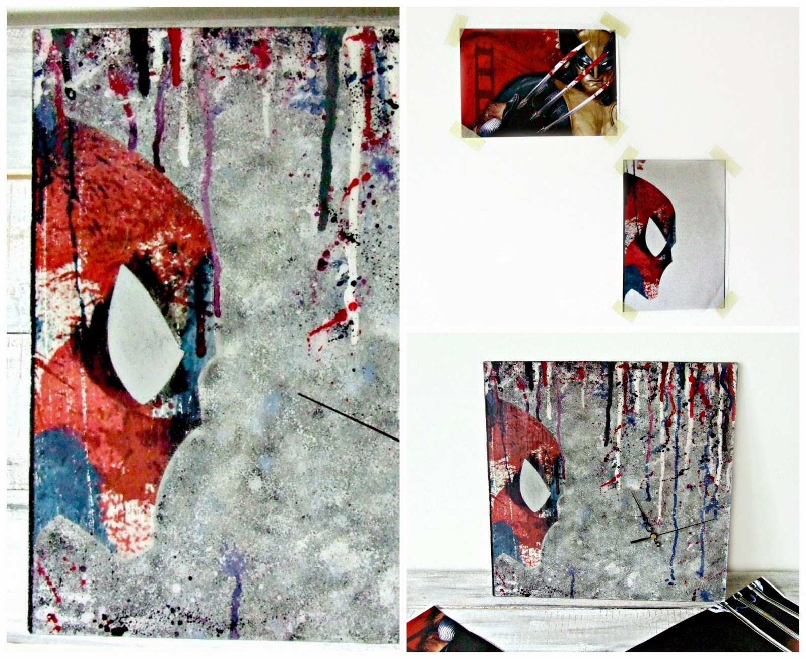 Zegar hand made decoupage z motywem Spidermana. Eco Manufaktura