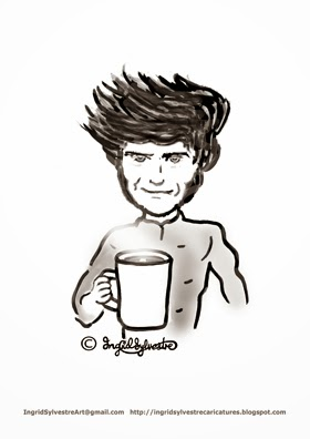 Guy Martin TT motorcycle racer with a brew of tea - Ingrid Sylvestre caricature