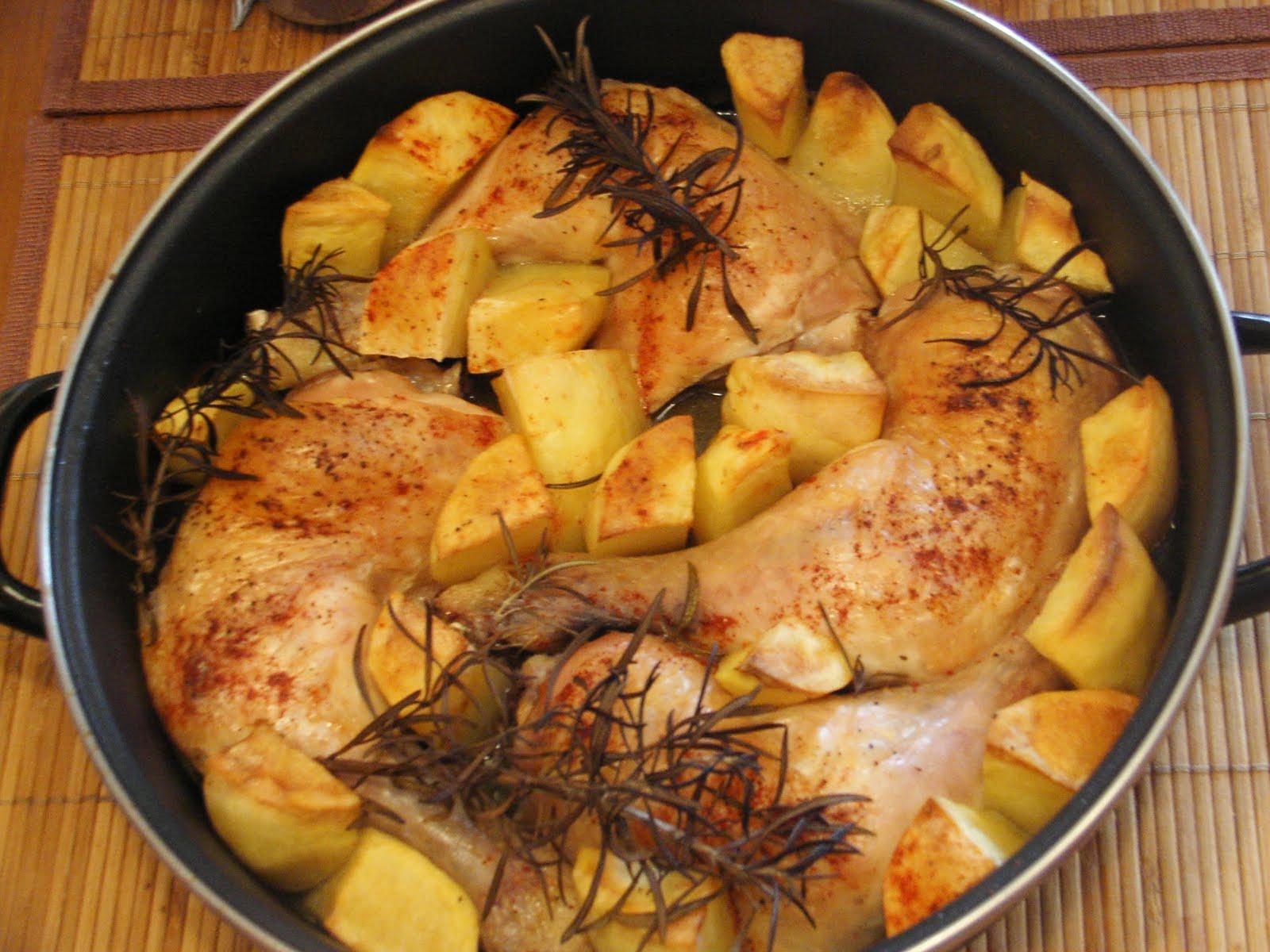 Cocinar sin sal pollo con patatas al horno sin sal - Pollo al horno con limon y patatas ...