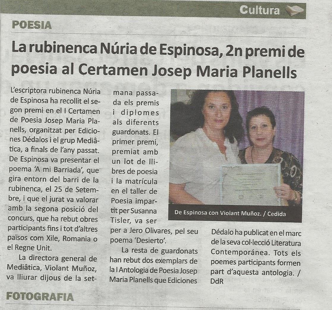 NOTICIA PUBLICADA EN EL DIARIO DE RUBI