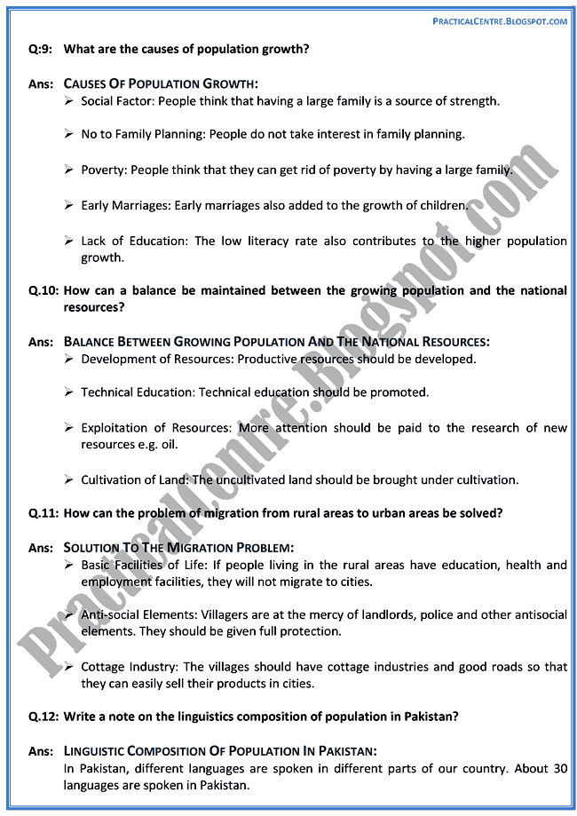 the-population-in-pakistan-short-question-answers-pakistan-studies-9th