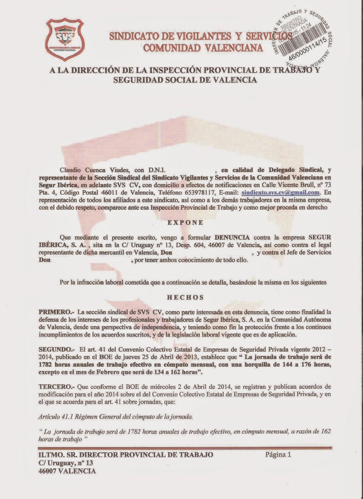 S v s cv segur ib rica valencia dos denuncias m s ante for Convenio colectivo de oficinas y despachos valencia