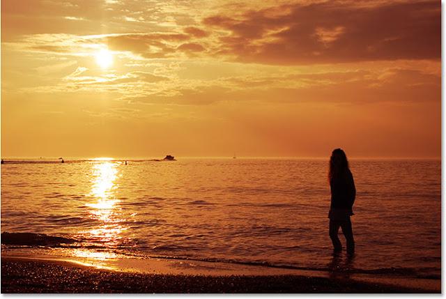 beautiful yellow sunset scene