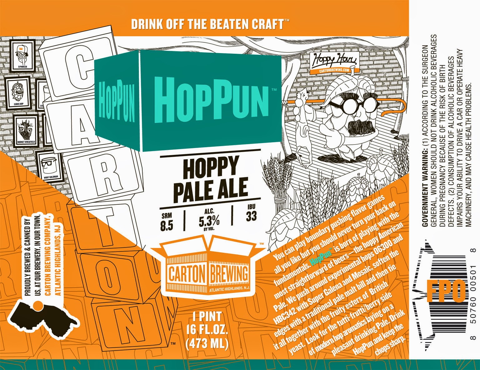 Carton Brewing, HopPun, Pale Ale, Craft Beer, New Jersey