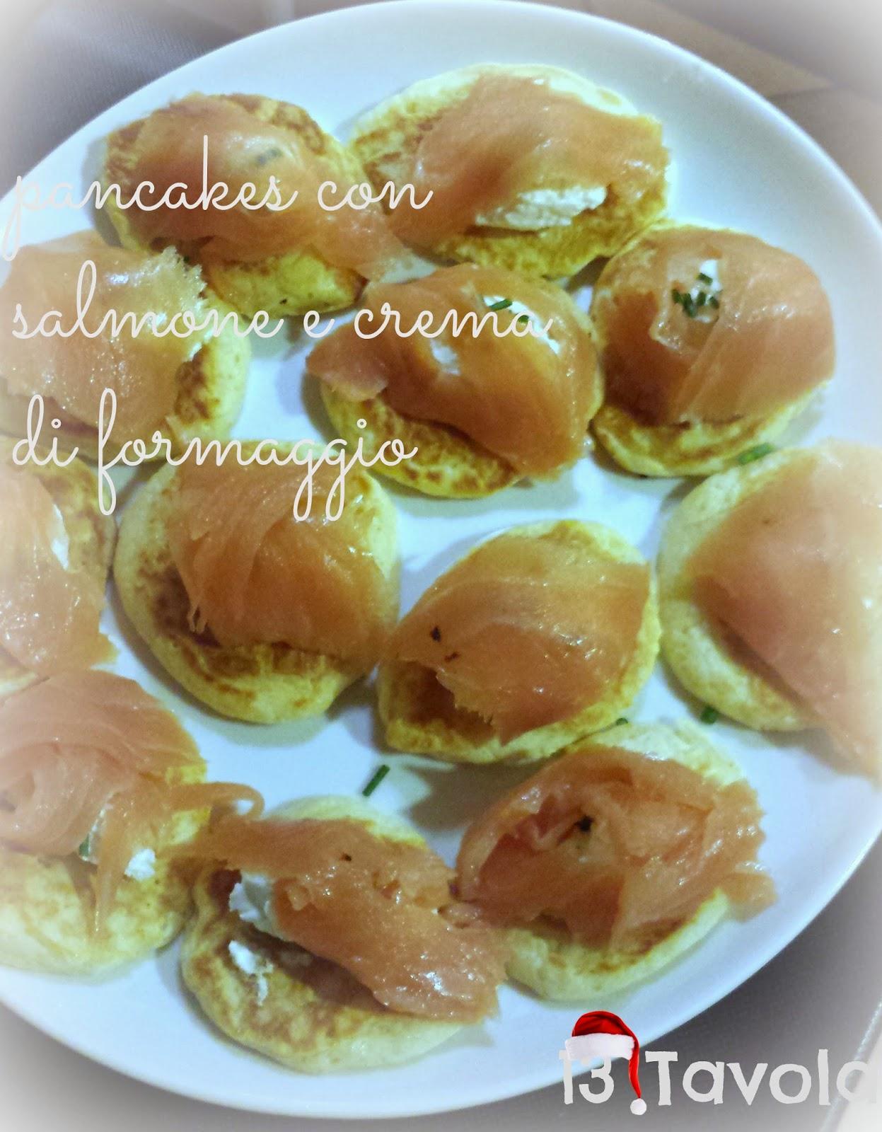 pancake con salmone e crema di formaggio