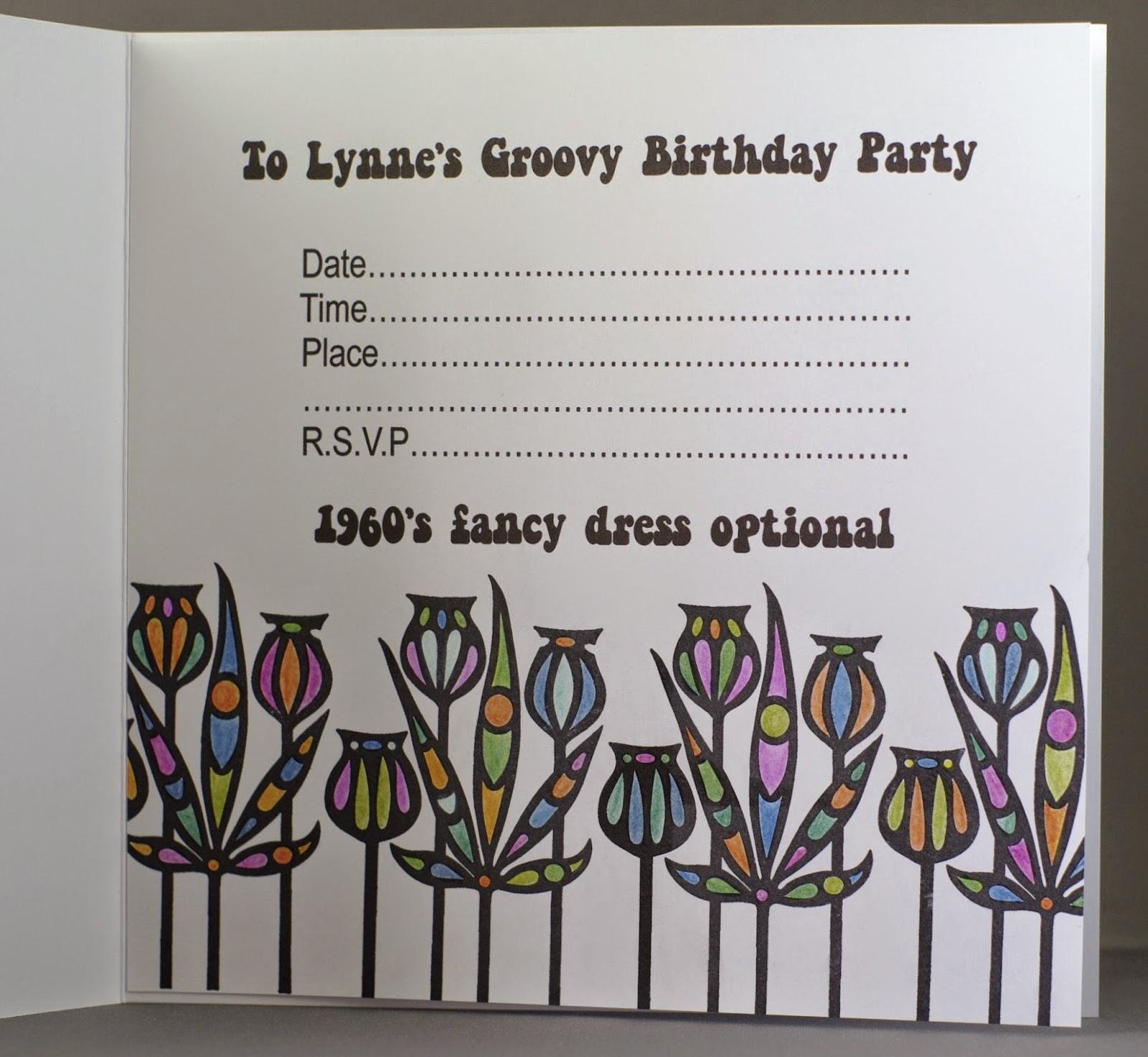 Lynne\'s Crafty Little Blog: Groovy Birthday Party Invitation
