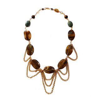 statement necklace, tiger eye necklace, elisha francis necklace, gold necklace, designer necklace