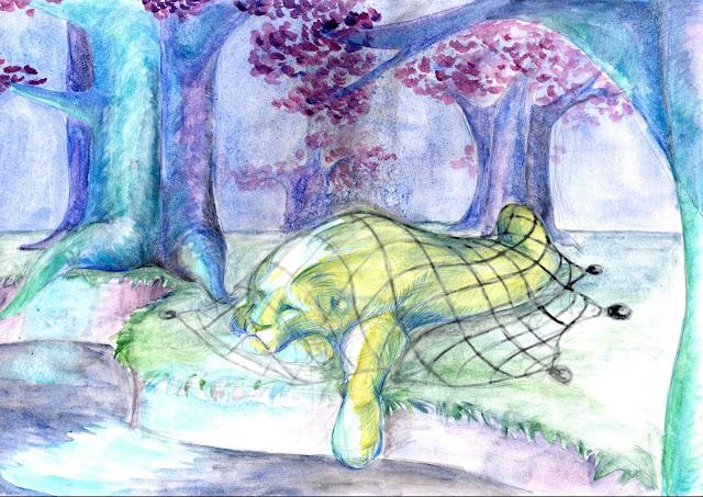 manu lafay le lion et la souris décor aquarelle crayon nuit