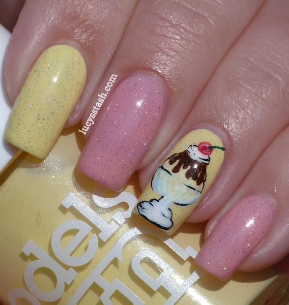 ice cream sundae nail art manicure