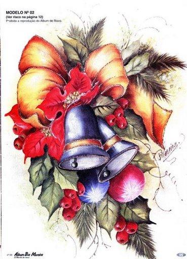 Compartiendo con mis amigas pintura en tela campanas y hojas - Pintura en tela motivos navidenos ...