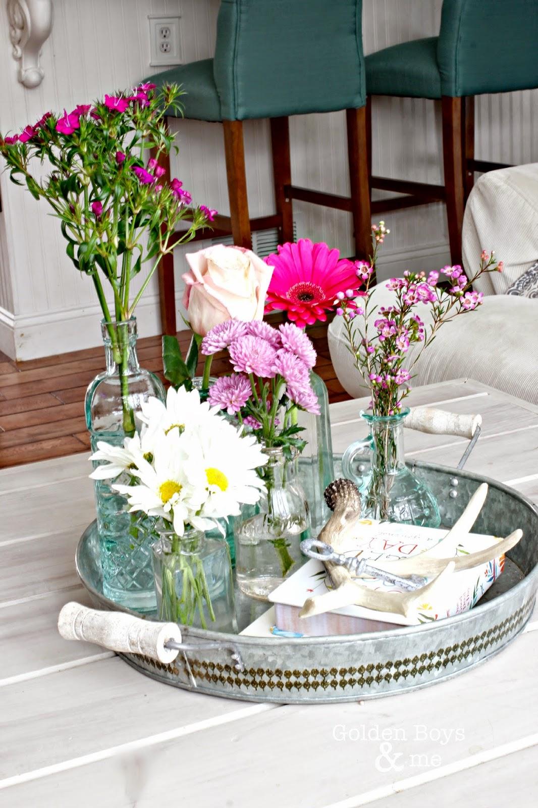 Spring flowers on galvanized tray-www.goldenboysandme.com