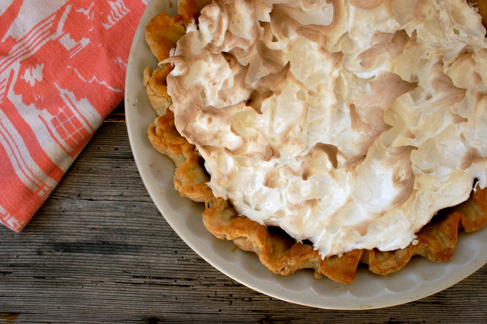 Butterscotch Pie with Meringue Top and Butter & Lard Crust
