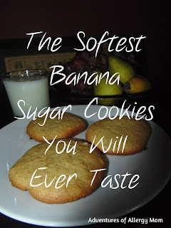 The softest banana sugar cookies you will ever taste. Allergy free and Gluten-free