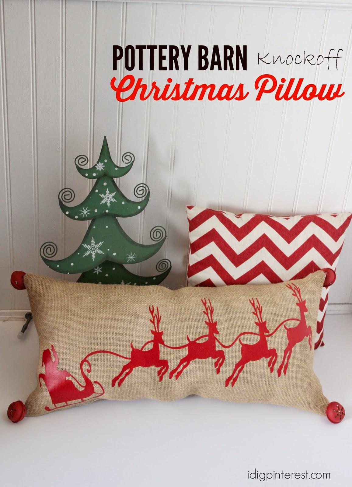 Santa's Sleigh Vinyl Pillow