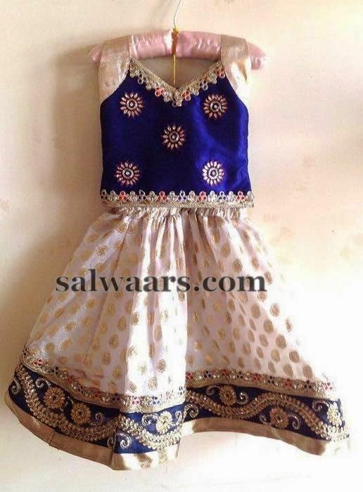 White Benaras Skirt with Work