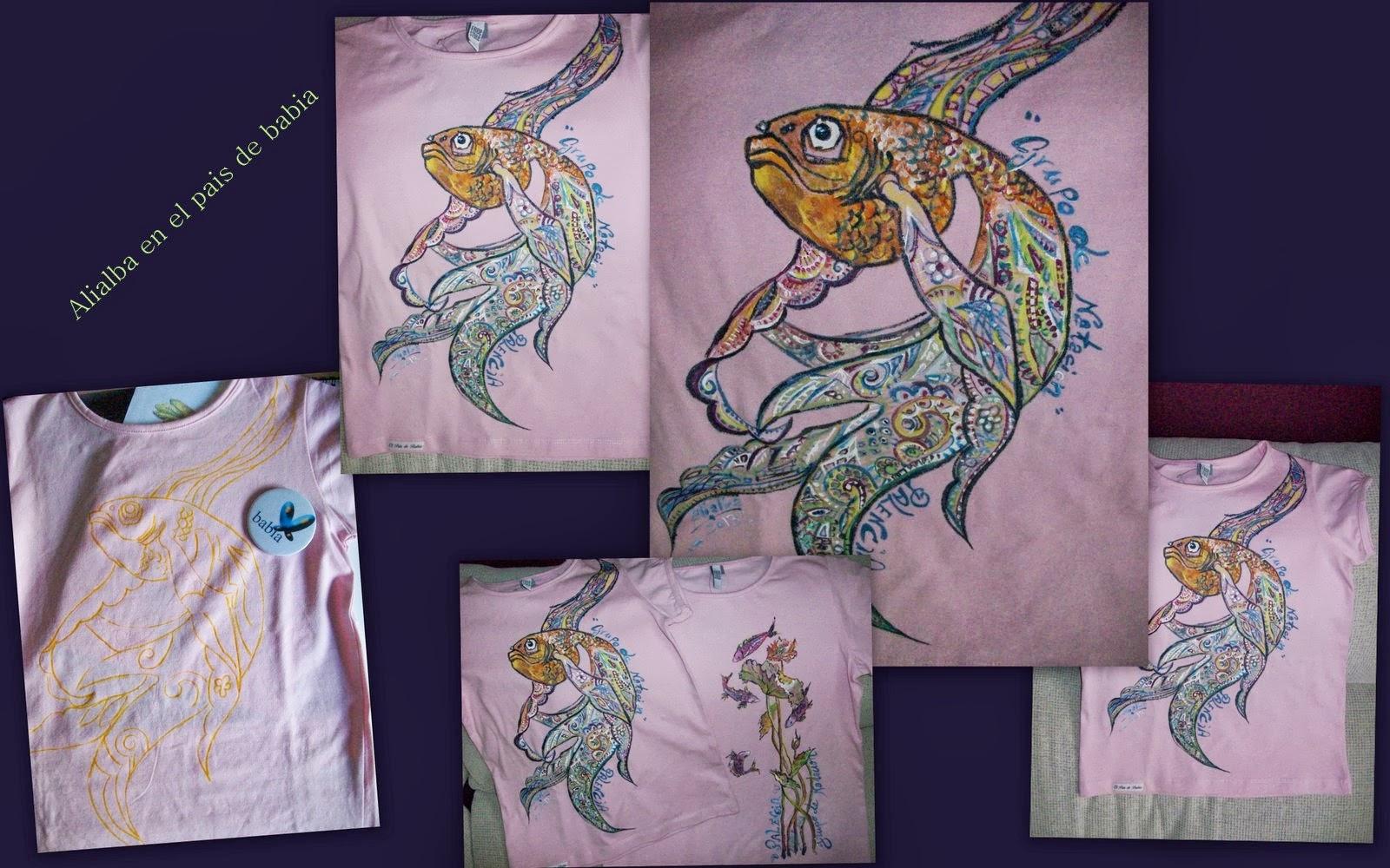 Camisetas pintadas a mano como pintar un pez de colores - Como pintar azulejos a mano ...