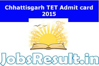 Chhattisgarh TET Admit card 2015