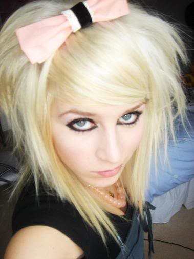black and blonde emo hairstyles. lack and londe hairstyles
