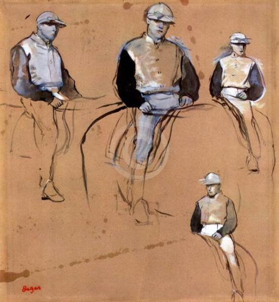 Estudio con cuatro jockeys, ca. 1866-1868