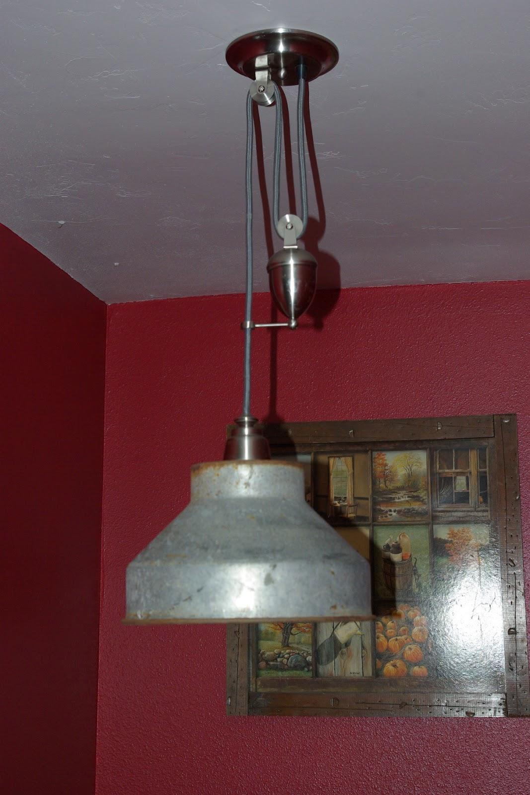 reclaimed rustics pulley light fixture. Black Bedroom Furniture Sets. Home Design Ideas