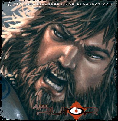 Detalle de ilustración hecha por ªRU-MOR de personaje Bruda para ÉPICA: Edades Oscuras, juego de cartas de fantasía medieval y rol
