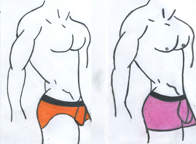 Zphela underwear for men, sketches of briefs and boxers