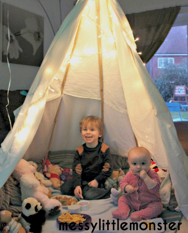 how to make a simple den.  NO SEW TEPEE