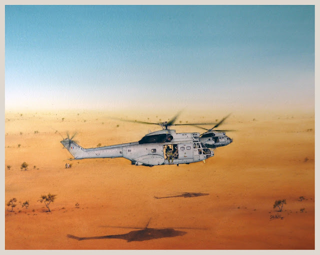 Aquarelle, hélicoptère, Sa-330 ba, Niger, Barkhane