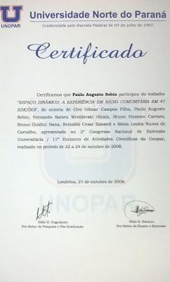 Certificado projeto Espaço Dinâmico