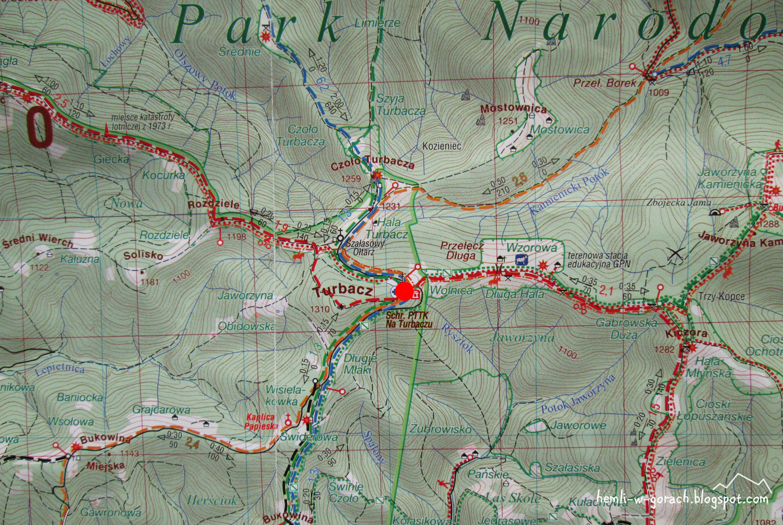 Schronisko na Turbaczu na mapie