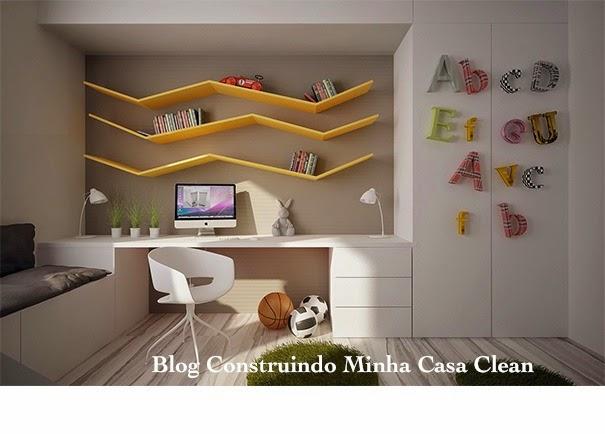 Construindo Minha Casa Clean 12 Quartos Fantásticos de  ~ Como Fazer Uma Mesa De Estudo Para Quarto
