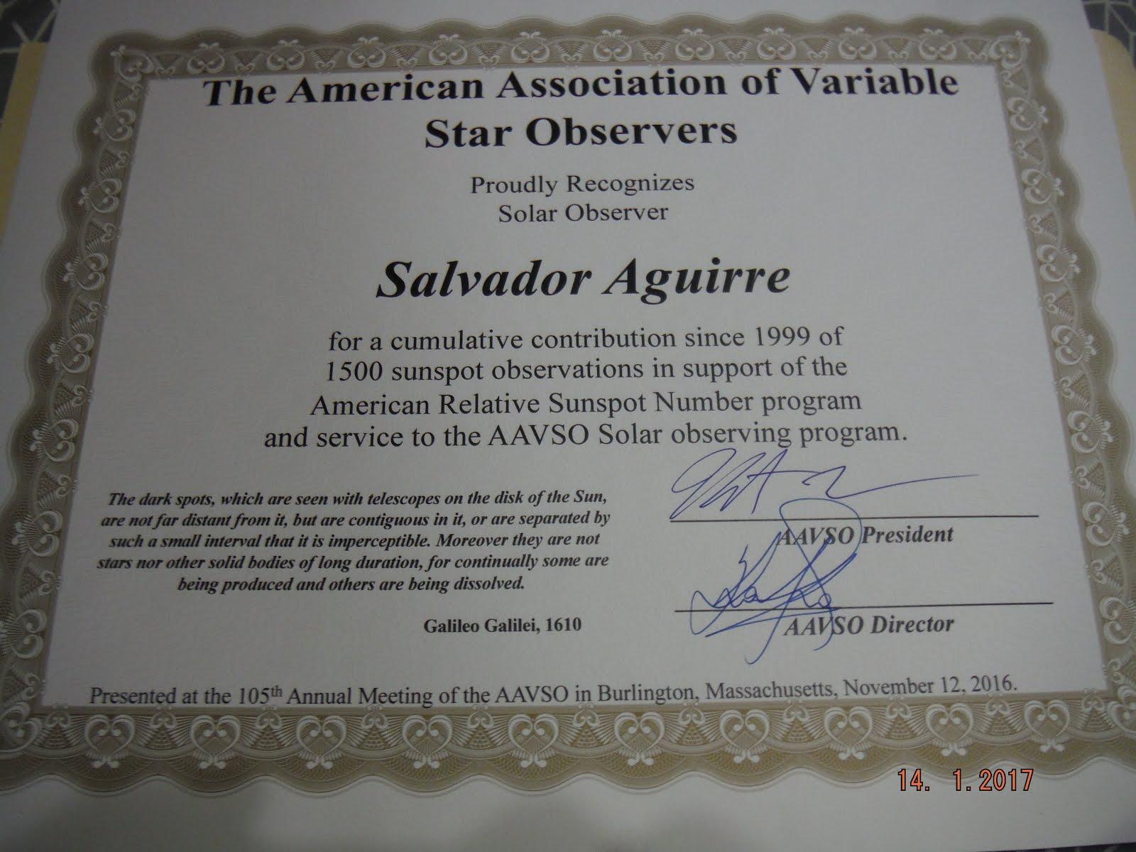 Reconocimiento en AAVSO por 1500 Observaciones Solares alcanzadas.