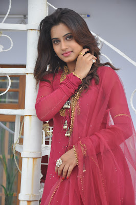 Cute Dimple in Red anarkali salwar suite looking gorgeous
