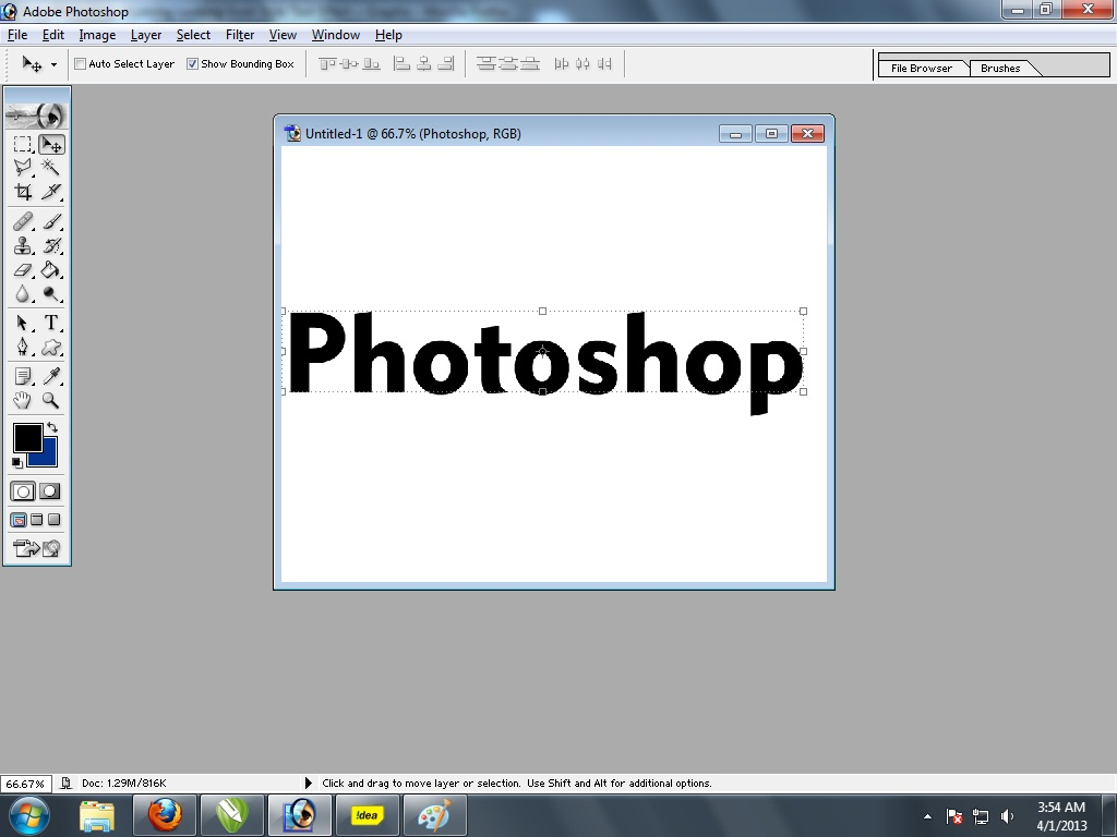 Quick text tutorial 3d realstic text in adobe photoshop 7 quick 2 type your word and click on black arrow tool right side 1st tool in tool box baditri Images