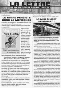 LA LETTRE DE LA SECTION DU PCF - N° 3 / AVRIL 2015