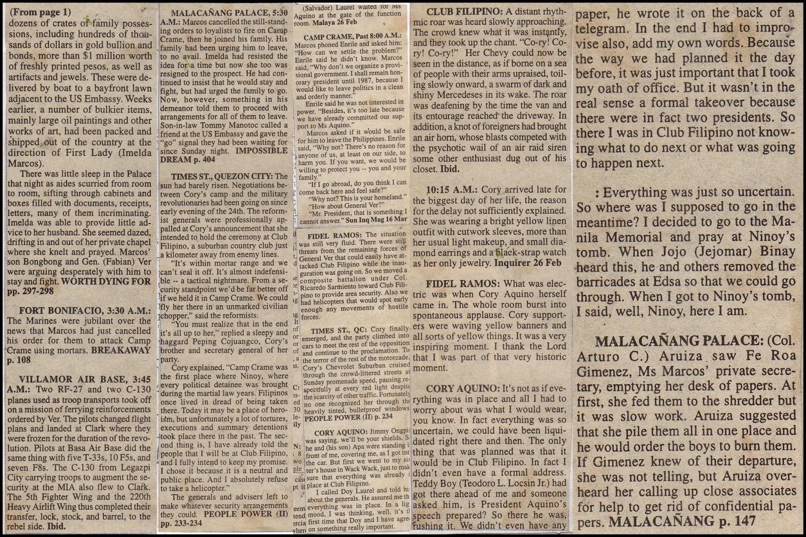 People Power Revolution, EDSA, Chronology of a Revolution, 1986