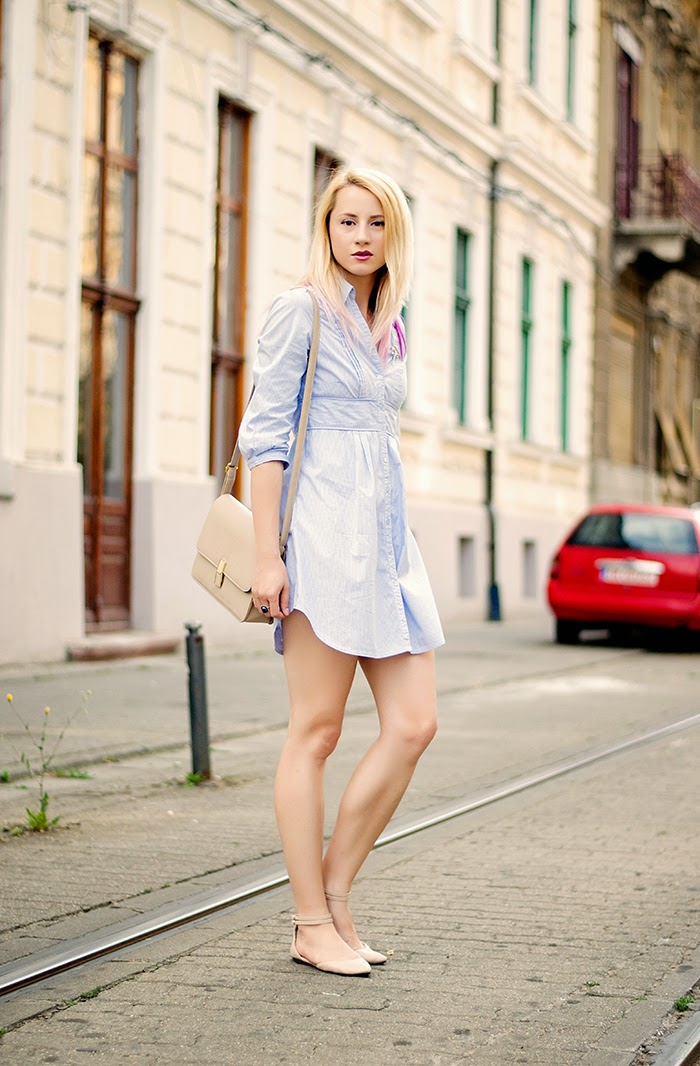 H&M blue shirt dress nude Asos flats