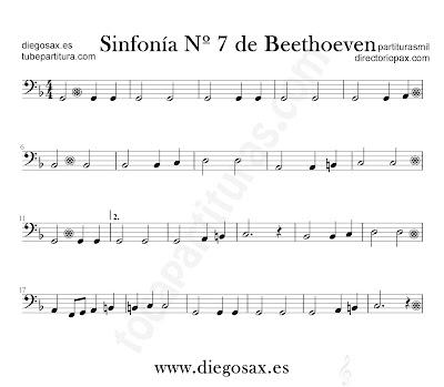 Sinfonía nº 7 de Beethoven partitura para Trombón, Tuba, Violonchelo, Fagot, Bombardino... en clave de Fa